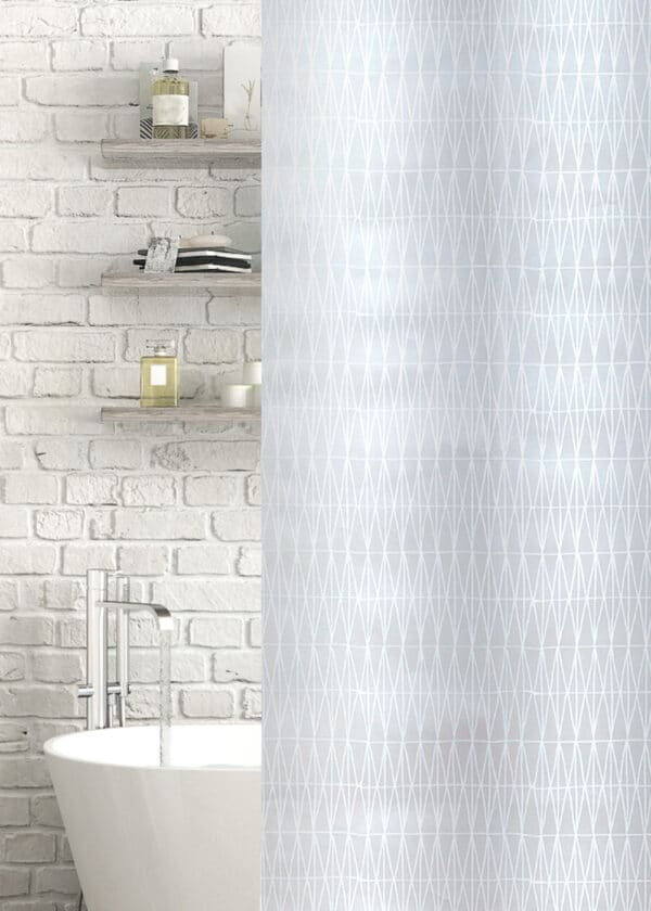 Asterix Peva Shower Curtain White/Frosted - Shower Accessories