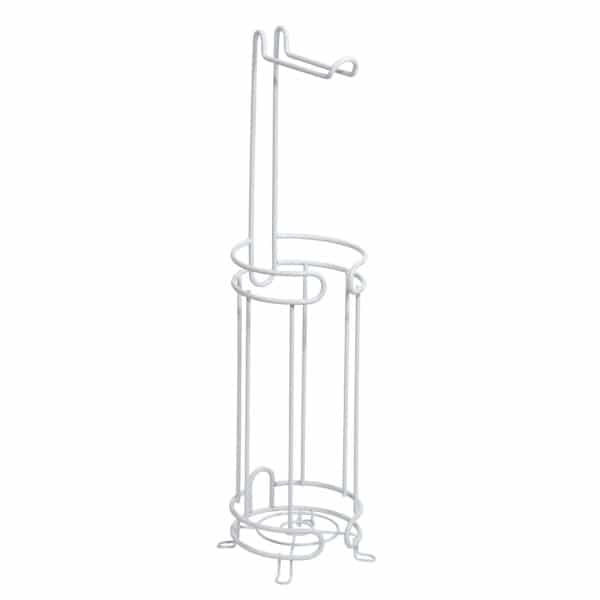 Bolero Wire Toilet Roll & Spare Paper Combo White - Free Standing Toilet Roll Holders