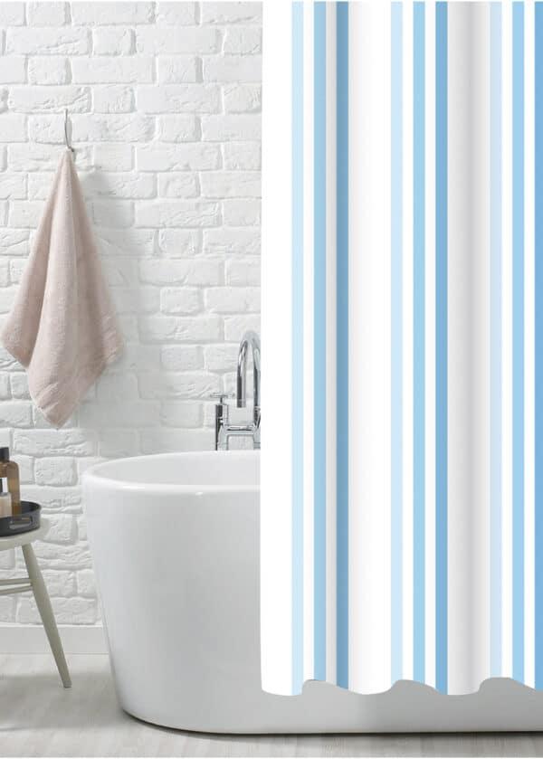 Brighton Rock Blue Polyester Shower Curtain - Shower Accessories