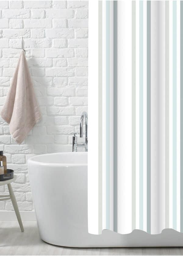 Brighton Rock Duck Egg Polyester Shower Curtain - Shower Accessories