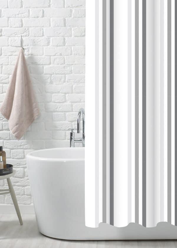 Brighton Rock Grey Polyester Shower Curtain - Shower Accessories