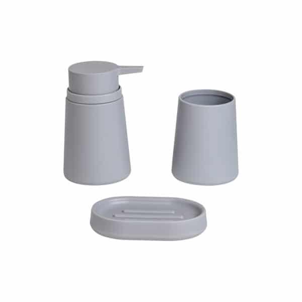 Garda Collection Light Grey 3 Piece Set - Bathroom Accessory Sets