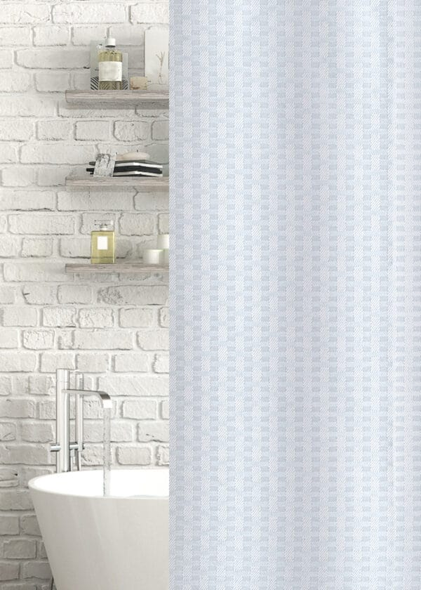 Geo Jacquard Polyester Shower Curtain White - Shower Accessories