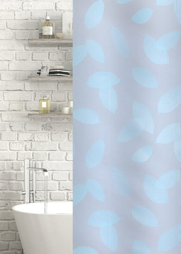 Leaf Peva Shower Curtain Duck Egg/Frosted - Shower Accessories