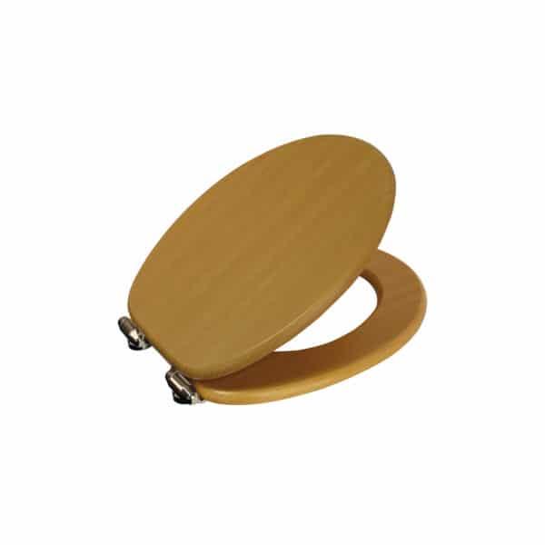Norfolk Soft Close Toilet Seat Beech/Chrome - Toilet Seats