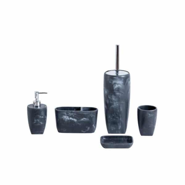 Octavia Grey Collection 5 Piece Set - Bathroom Accessory Sets
