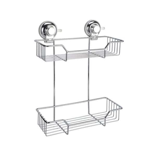 Super Suction Vertex 2 Tier Rect. Basket - Bathroom Caddies and Baskets