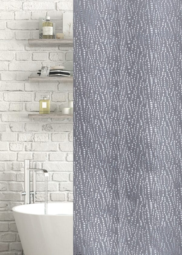 Waterfall Jacquard Polyester Shower Curtain Grey - Shower Accessories