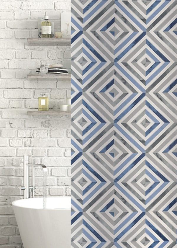 Zona Polyester Shower Curtain Blue/Grey - Shower Accessories